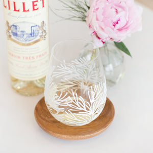 Coral Reef Hand-painted Wine Glass - White