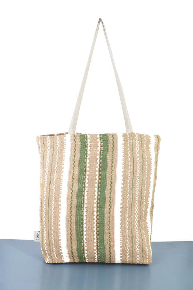 Tote Bag alpujarra crudo marrón y verde