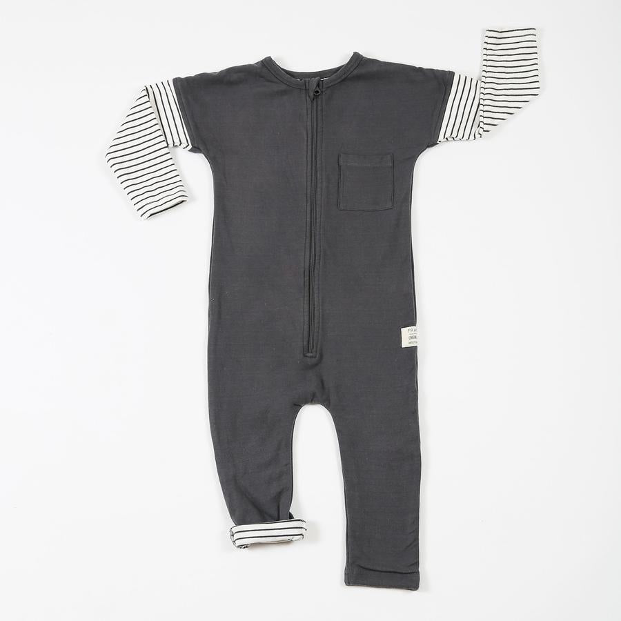 Lined Charcoal Zip Romper