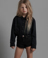 Black Punk Bandit Denim Shorts