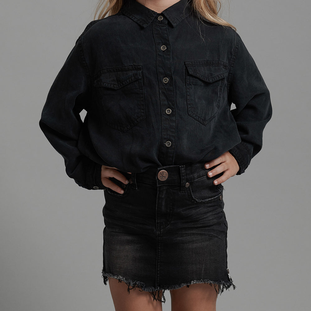 Black Punk Mini Denim Skirt