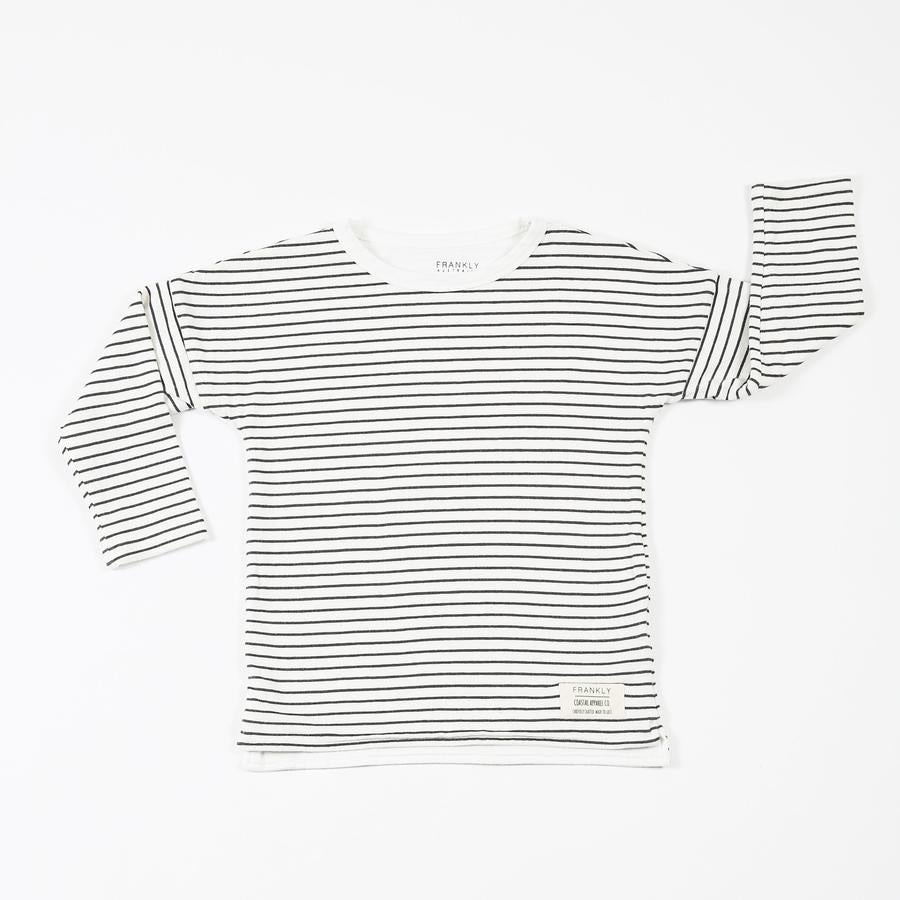 Lined Striped Cotton Long Sleeve Tee