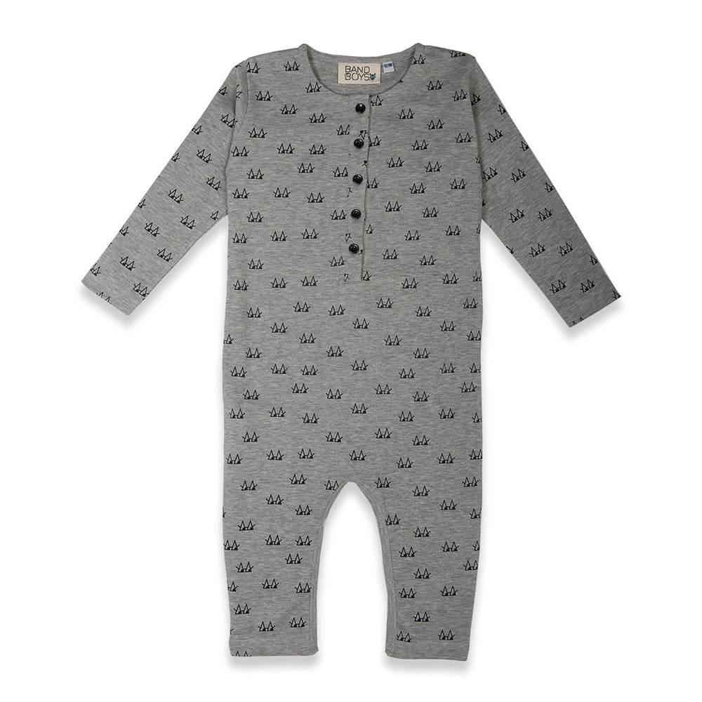 Organic Baby Triangle Eyes Button Front Romper
