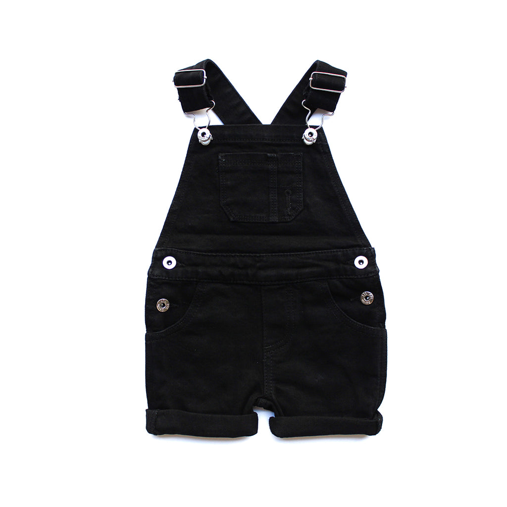 Black Denim Short Overalls
