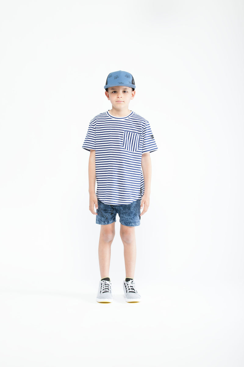 Crazy Eddie Stripe Pocket Tee
