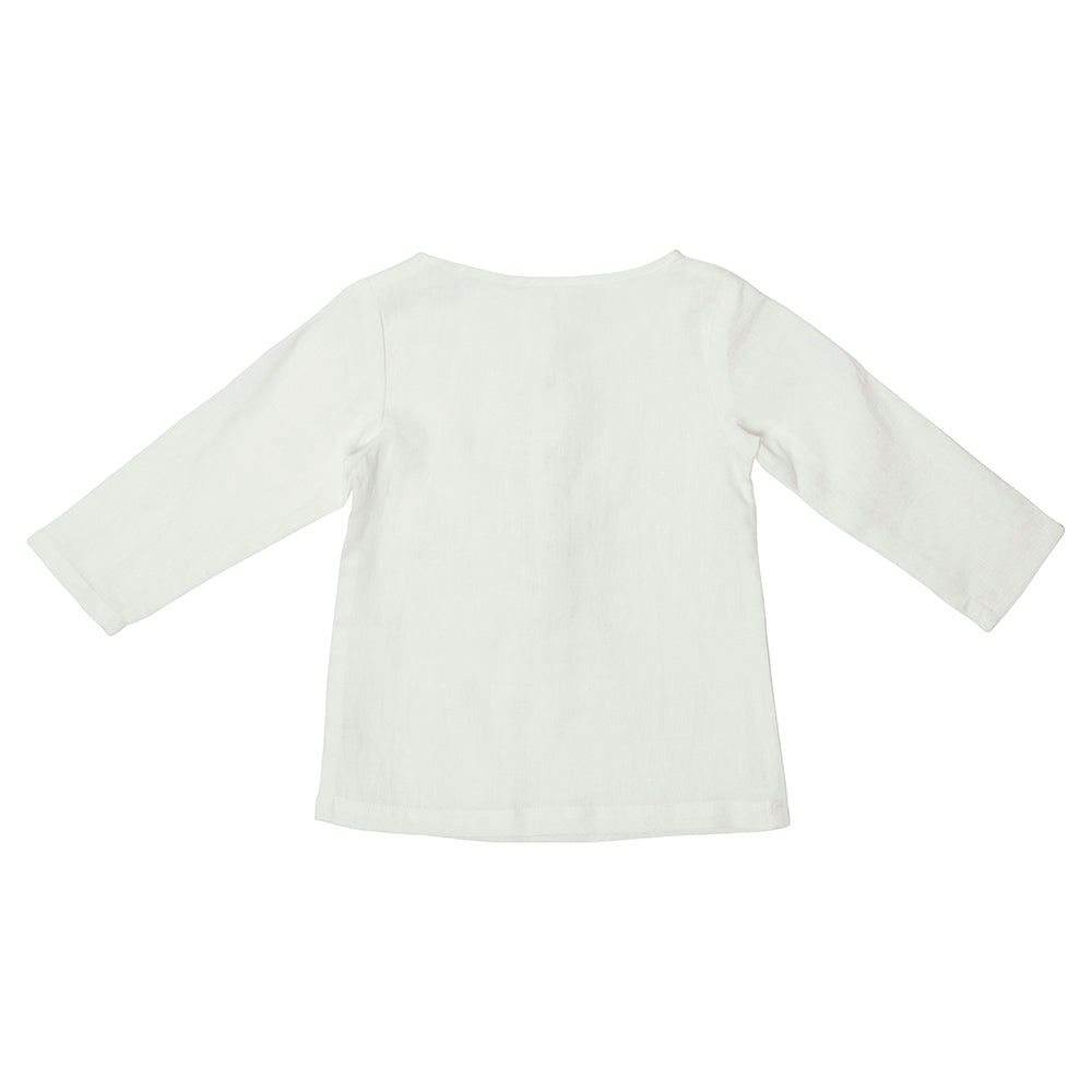 White Linen Long Sleeve Tee