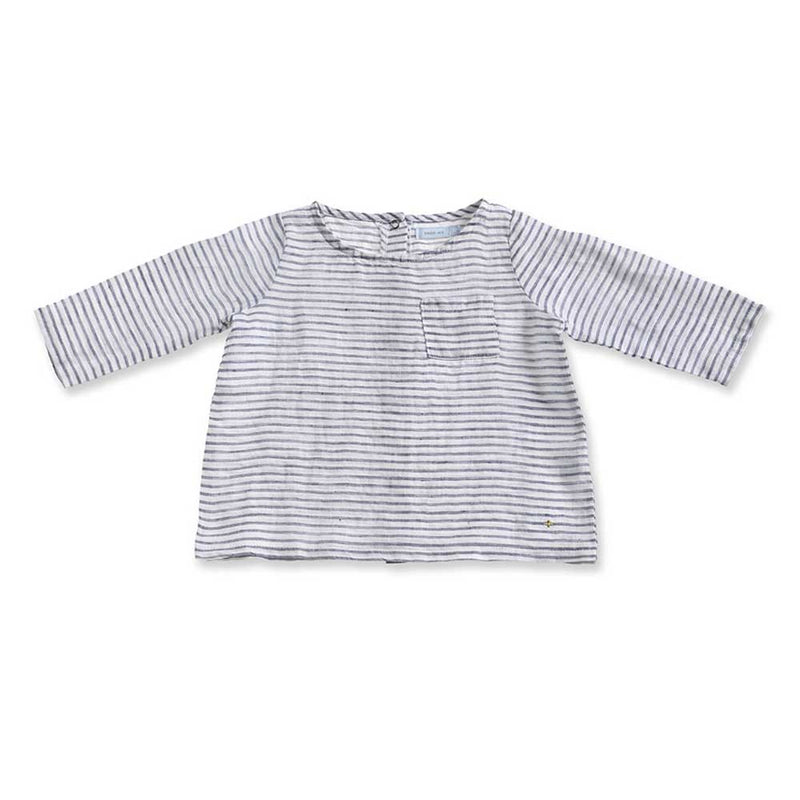 Frankie Linen Top - Navy Stripe