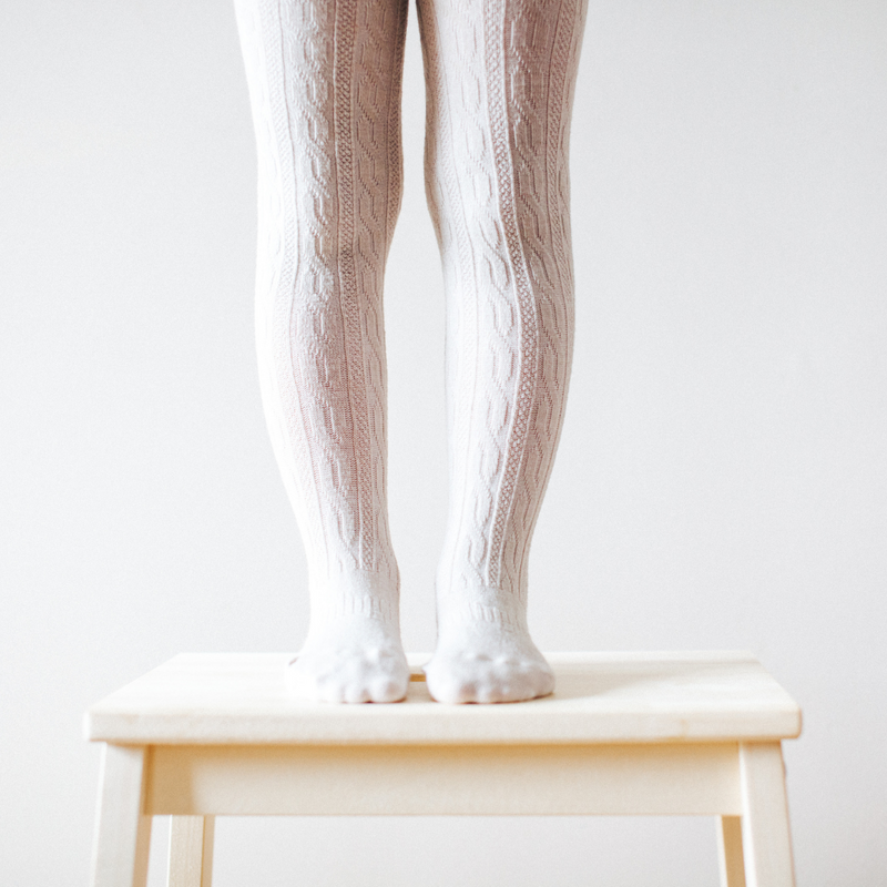 Lamington Oatmeal Cable Knit Tights