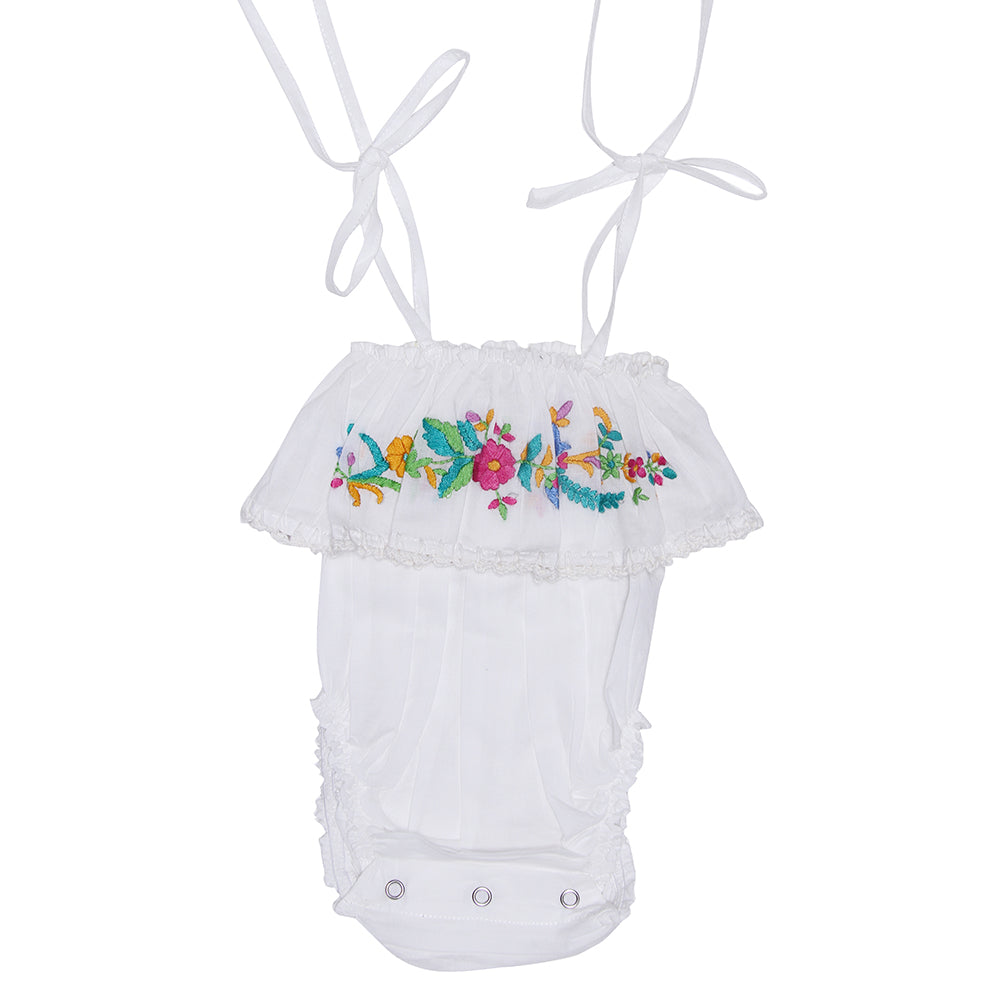 White Sunsuit with Hand Stitch