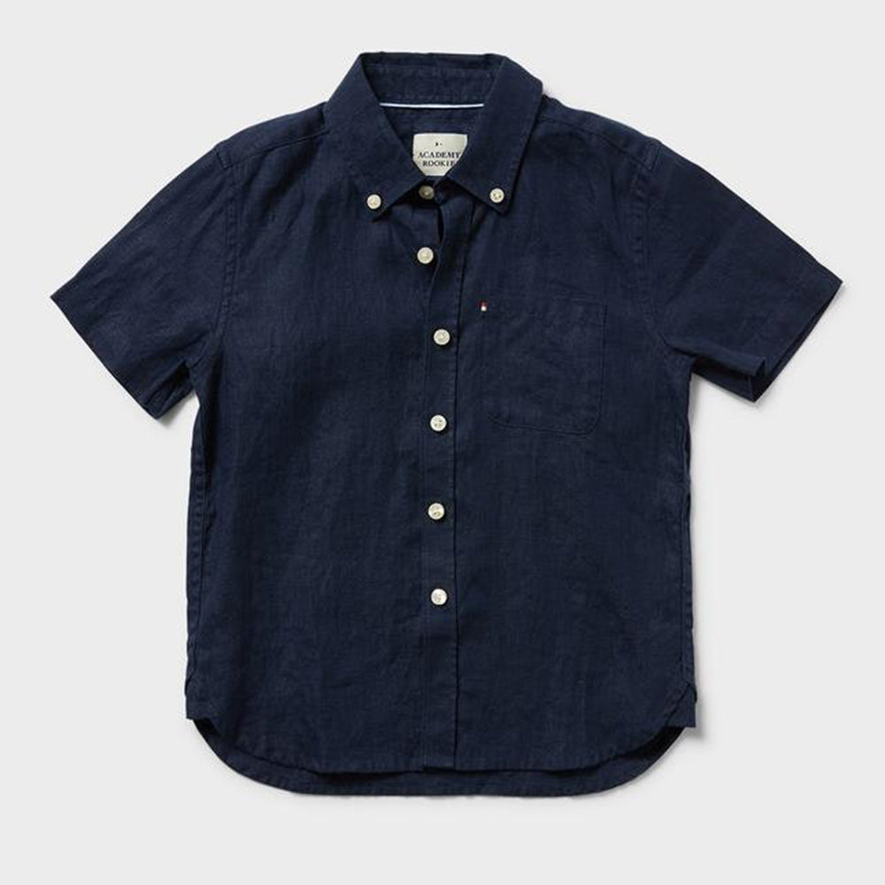 Newport Shortsleeve Linen Shirt - Navy