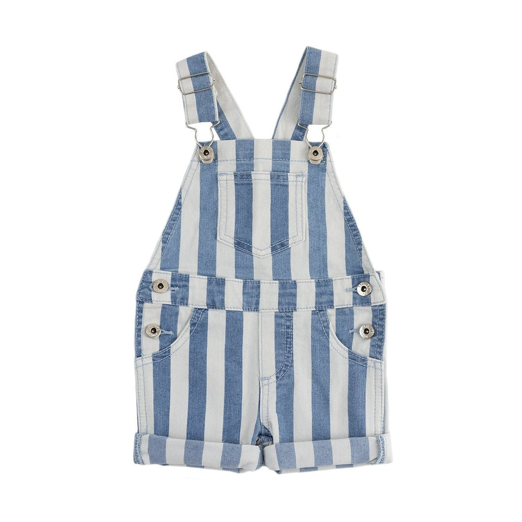 Retro Stripe Short Overalls