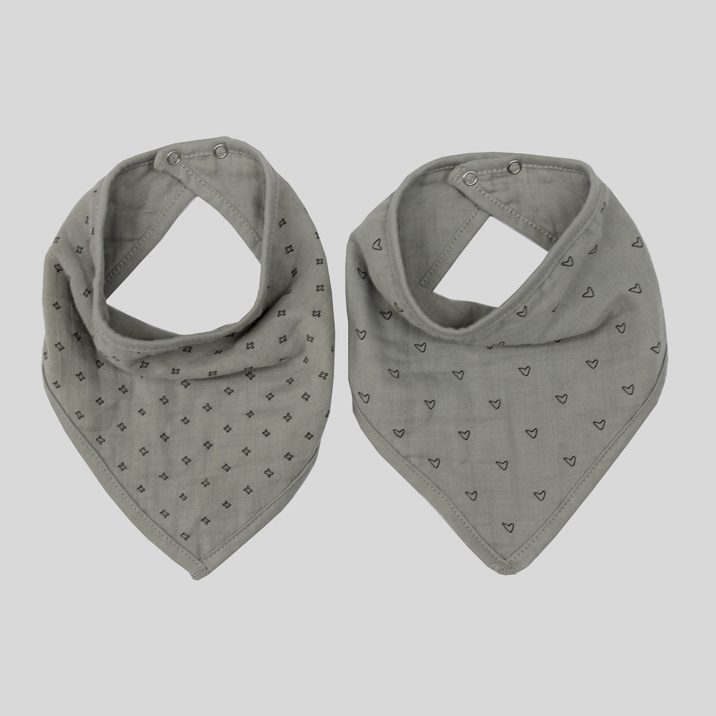 Grey Bandana Bib Set