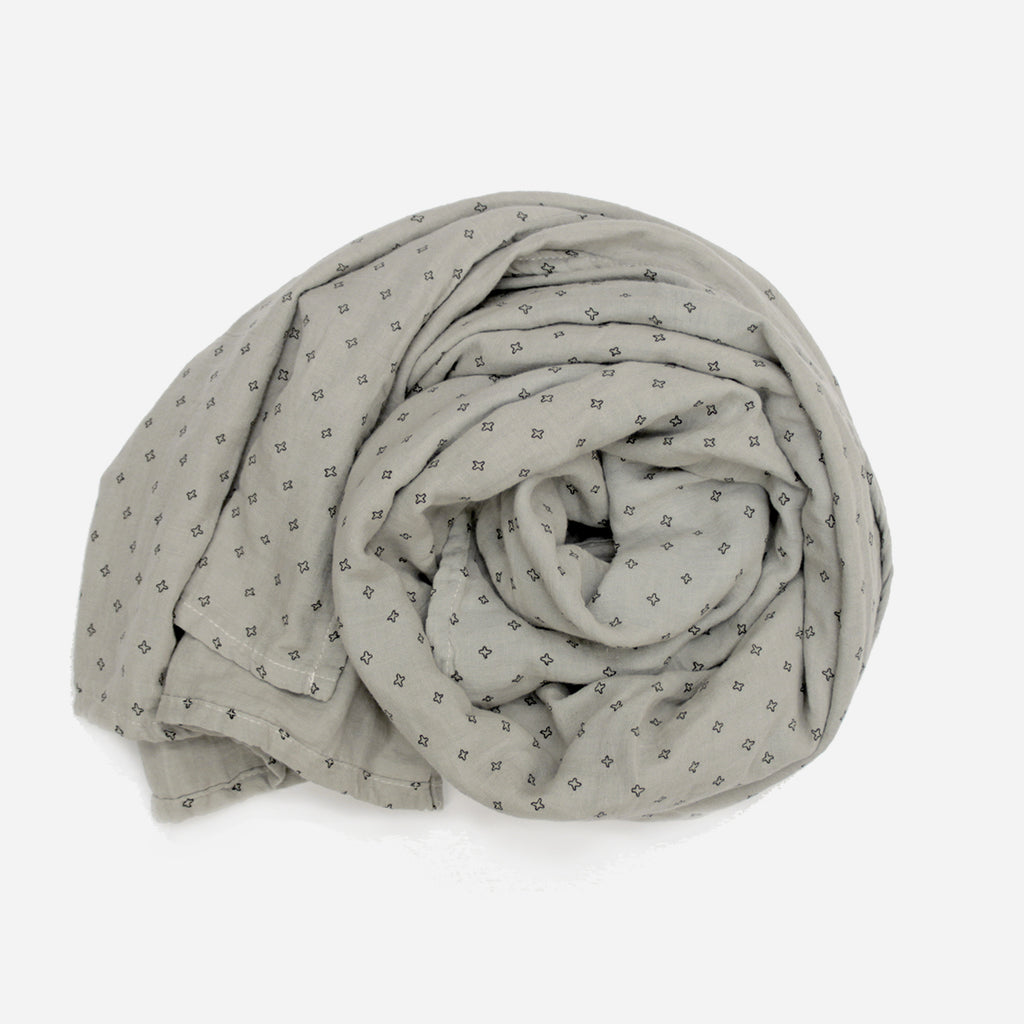 Grey Cross Cotton Muslin Wrap