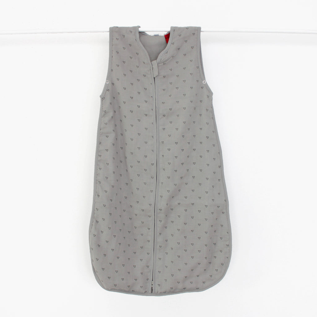 Grey Heart Muslin Sleep Sack