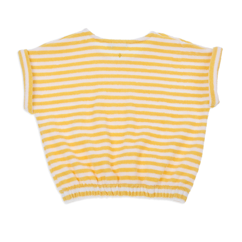 Wyatt Terry Towelling Tee Yellow Stripe