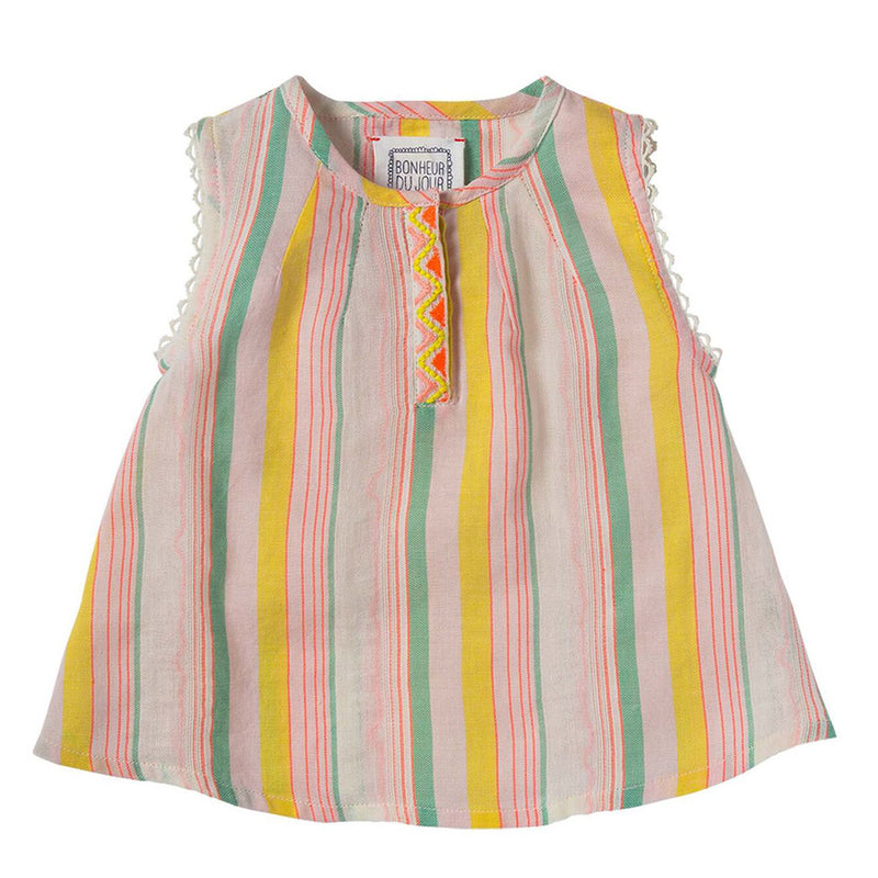 Zelie Striped Multicoloured Embroidered Top