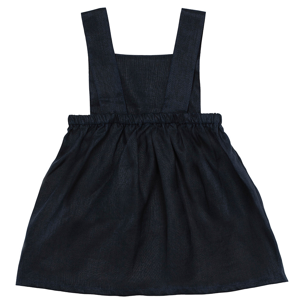 Navy Linen Pinny Dress