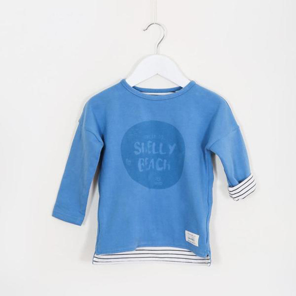 Lined Bluewash Cotton Long Sleeve Tee