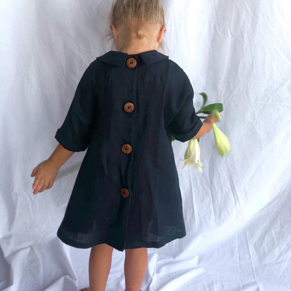 Le Champ Navy Linen Dress