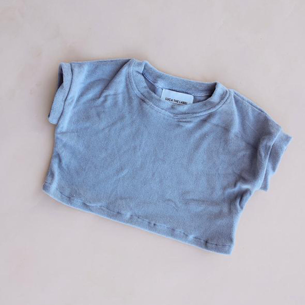 Terry Cropped Tee Stone