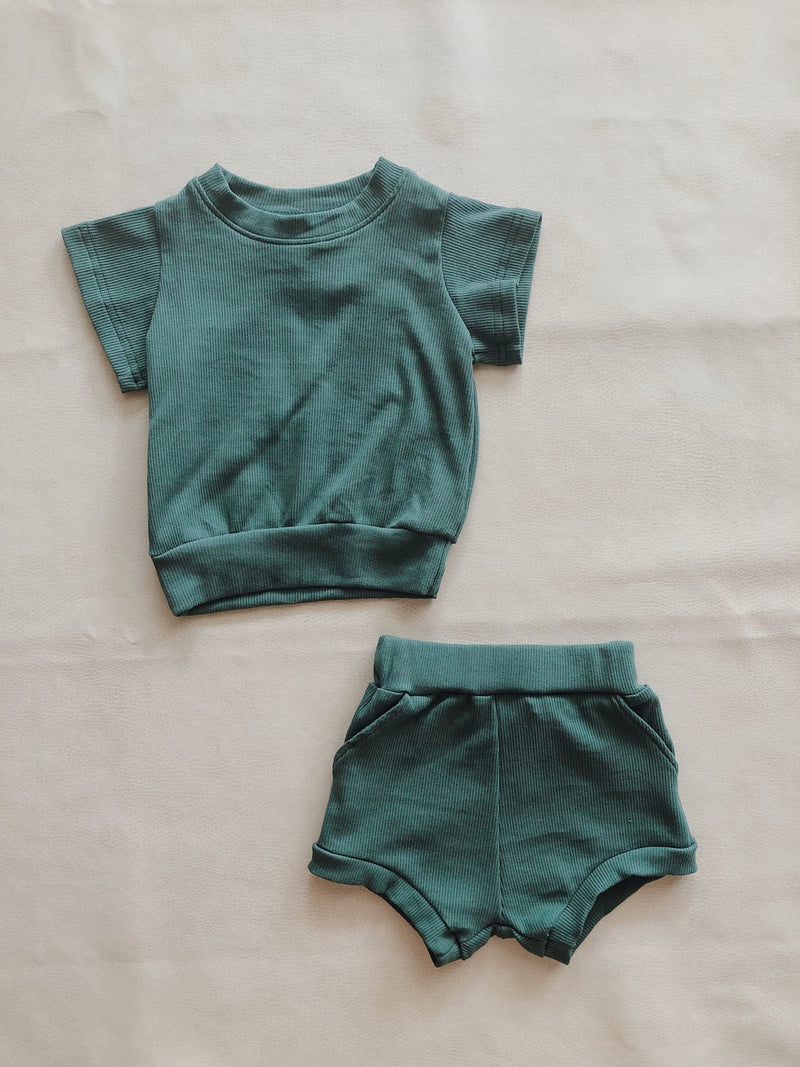 River Mini Ribbed 2-Piece Set - Emerald