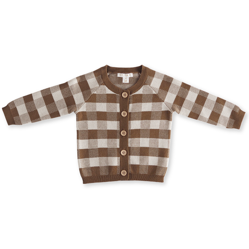 Gingham Cardigan - Earth & Clay