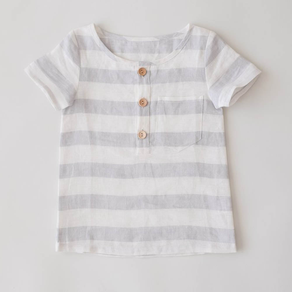 Grey Stripe Linen Tee