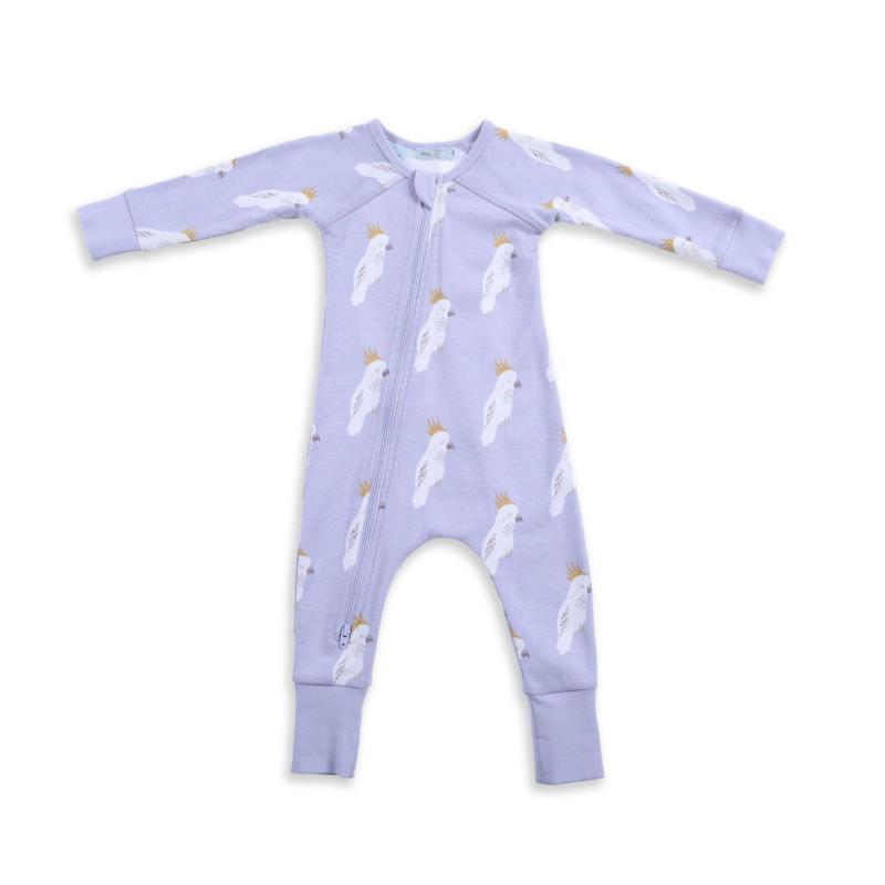 Cockatoo Party Zip Growsuit - Sky