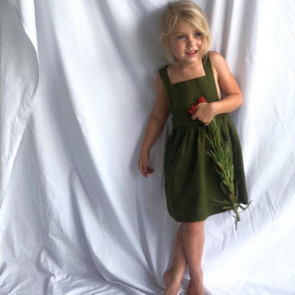 Le Lac Green Linen Pinafore Dress