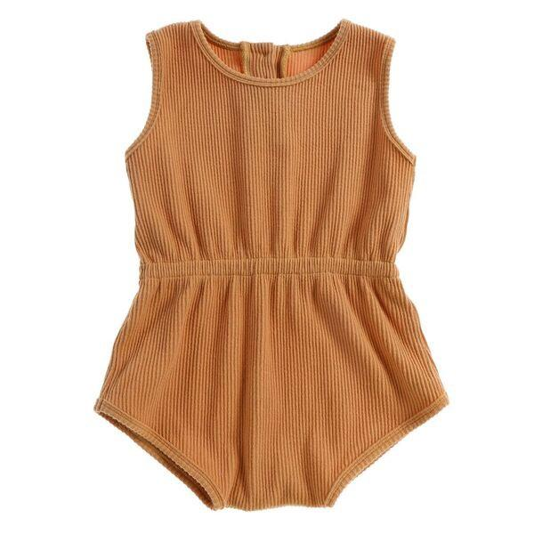 Ribbed Essential Playsuit Mustard