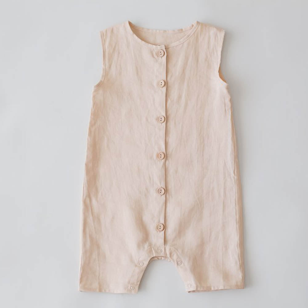 Oat Linen Button Up Romper