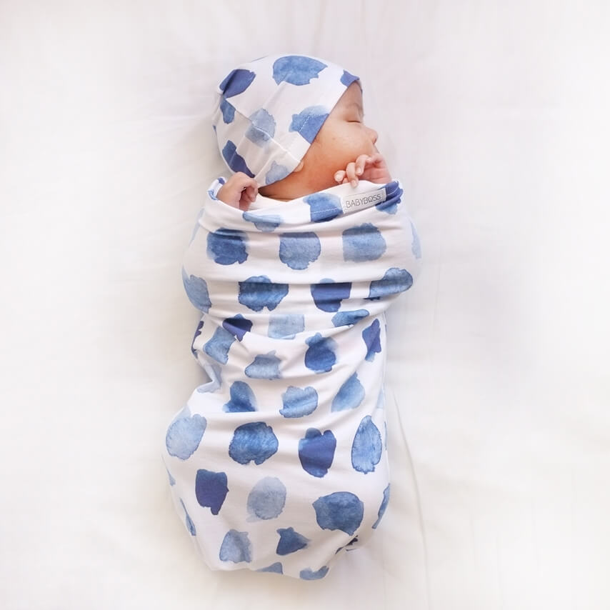 Snuggle Swaddle and Beanie Set - Ocean Skies
