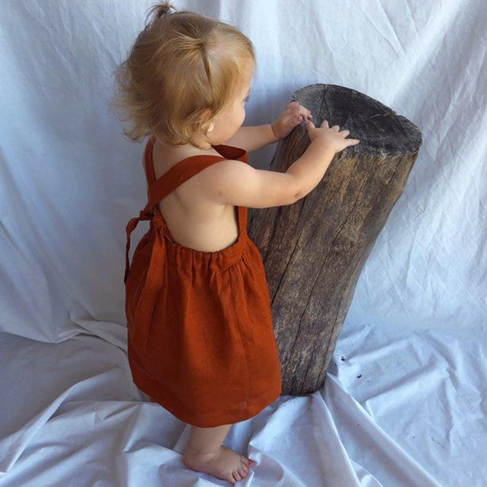 Le Lac Terracotta Linen Pinafore Dress