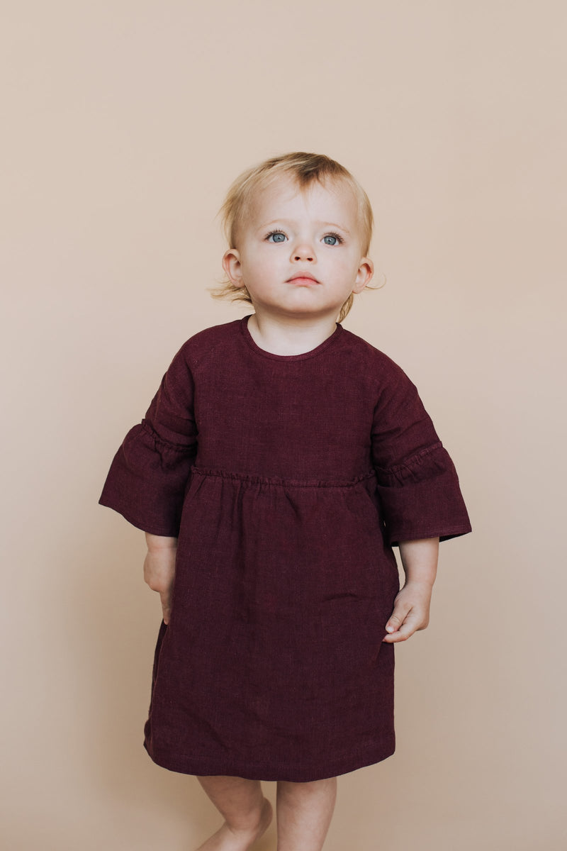 Luella Linen Dress Plum