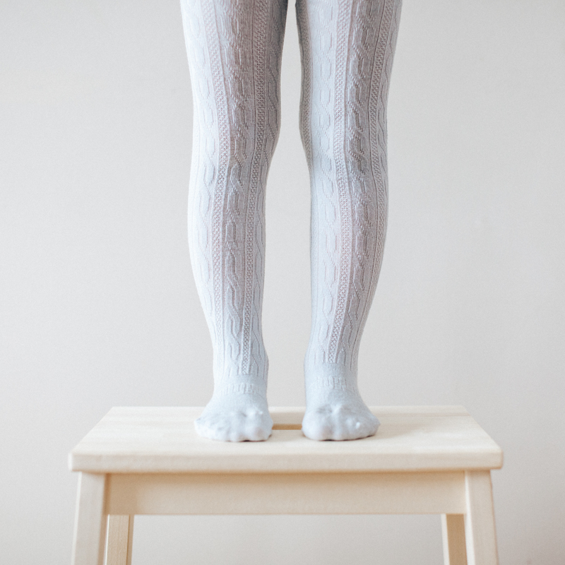 Lamington Snow Grey Cable Knit Tights