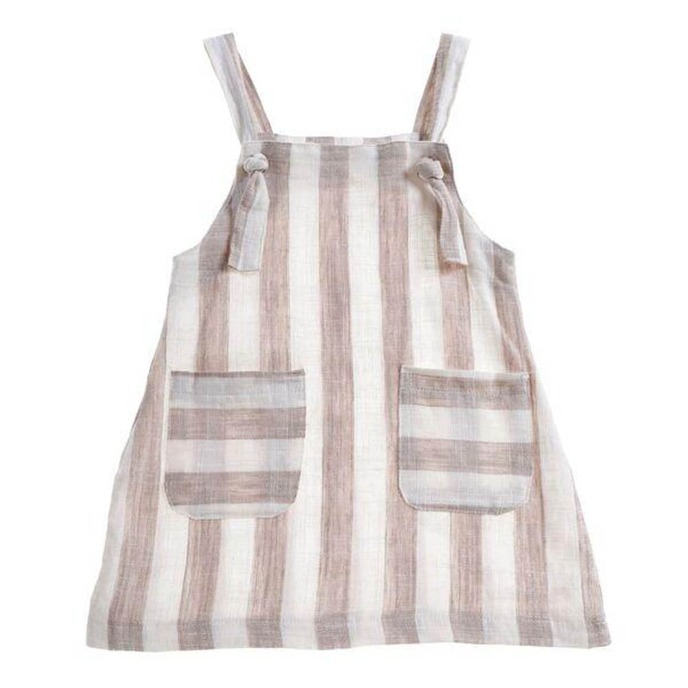 'Lilo' Apron Dress Stripe Linen