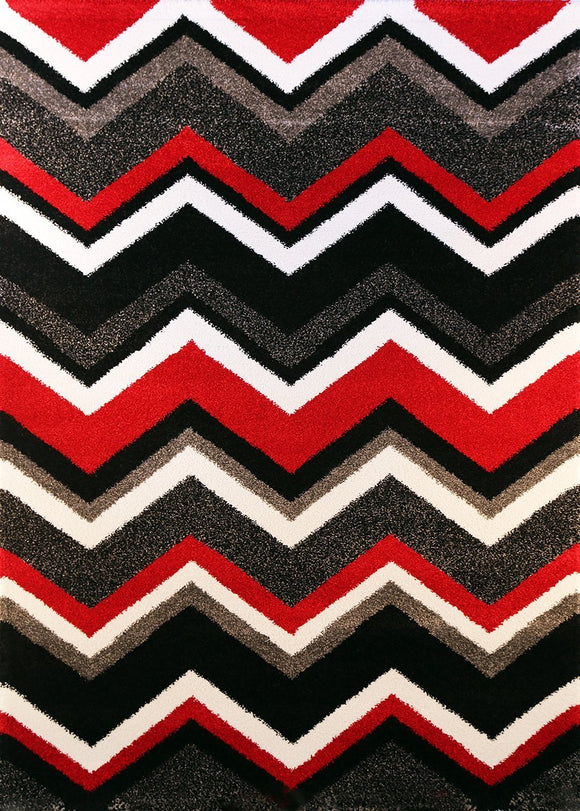 Valens Chevron Red Black Plush Pile Rug