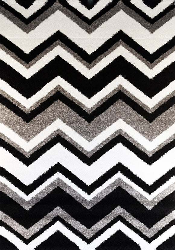 Valens Chevron Black and White Rug