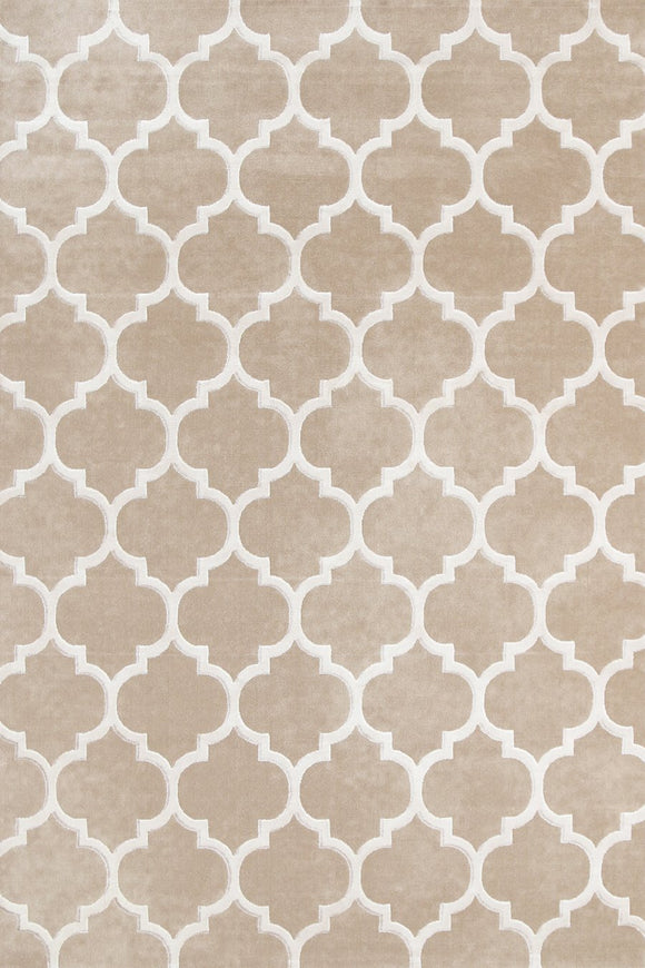 Alyssum Textured High Low Pile Trellis Beige Rug