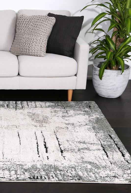 Momo Abstract Grey Olive Rug