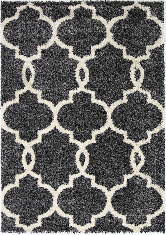 Siesta Lattice Charcoal Cream Shag Rug