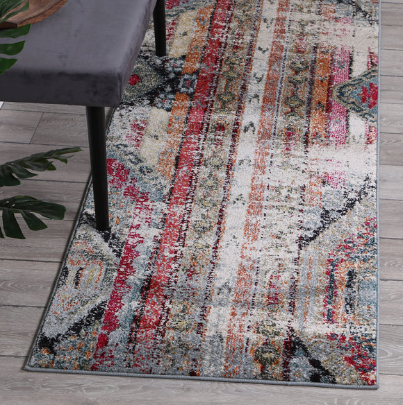 Symphony Multi Colour Vintage Bohemian Distressed Runner Rug