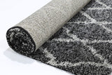 Siesta Diamond Charcoal Grey Shag Rug