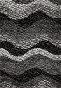 Barcelona Modern Supa Thick Grey Black Wave Rug