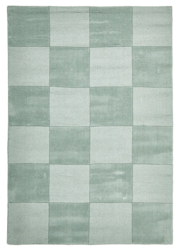 Timeless Boxed Pattern Wool Rug Seafoam