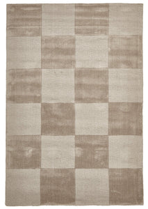 Timeless Boxed Pattern Wool Rug Taupe