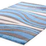 City Retro Waves Rug Blue Charcoal