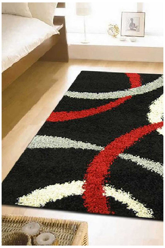 Cosmo Collection 2290 Black Red And White Rug