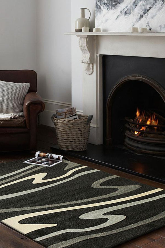 Icon Modern Swirls Rug Black