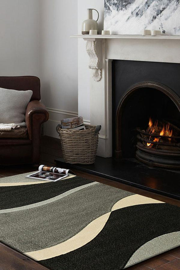 Icon Subtle Waves Rug Grey Black